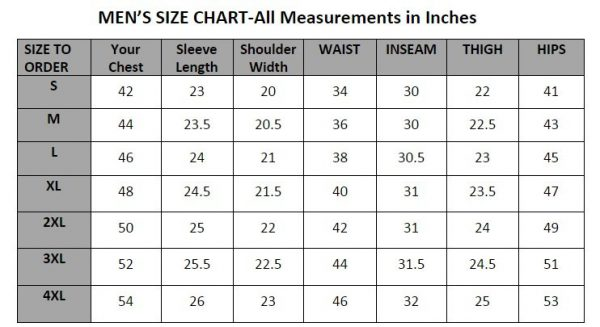 size-char-all-measurments-in-inches