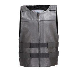Men-Leather-Motorcycle-Biker-Tactical-Street-Vest-Bullet-Proof-Style-Black