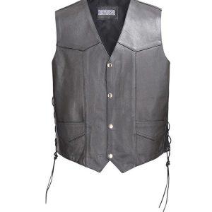 Men-Classic-Leather-Motorcycle-Biker-Vest-Embossed-Eagle-Black