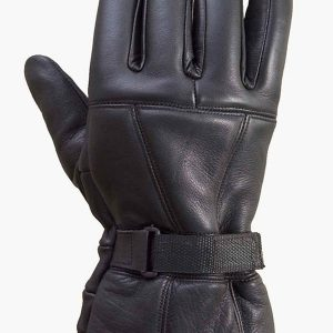 Mens-Sheep-Leather-Winter-Motorcycle-Biker-Gauntlet-Riding-Gloves-Black