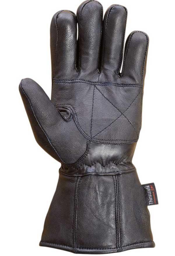 Mens-Sheep-Leather-Winter-Motorcycle-Biker-Gauntlet-Riding-Gloves-Black