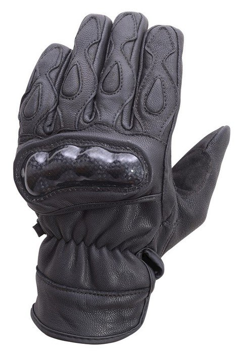 Motorcycle-Carbon-Fiber-Knuckle-Leather-Riding-Gloves-Black