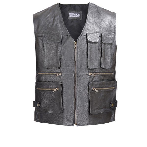 Men-Leather-Motorcycle-Biker-Tactical-Vest-8-pockets-Black-by-Wicked-Stock