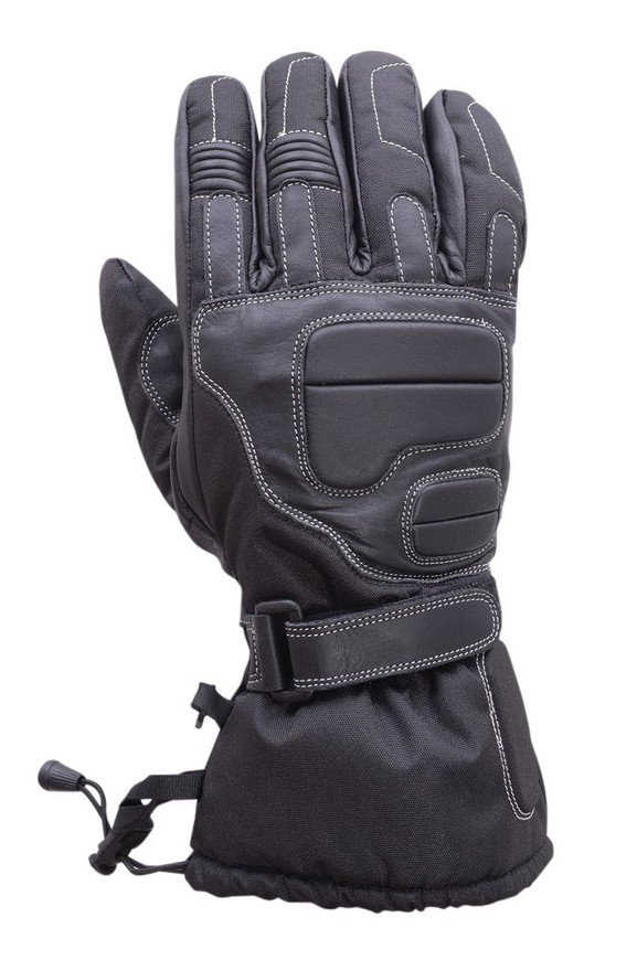 Motorcycle-Extra-Long-Gauntlet-Cowhide-Waterproof-Riding-Gloves-Black