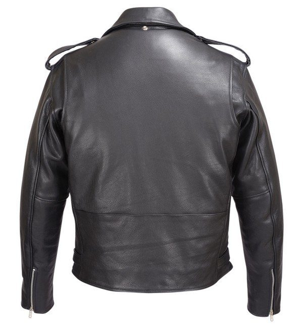 Mens-Real-Leather-Moto-Jacket-Black