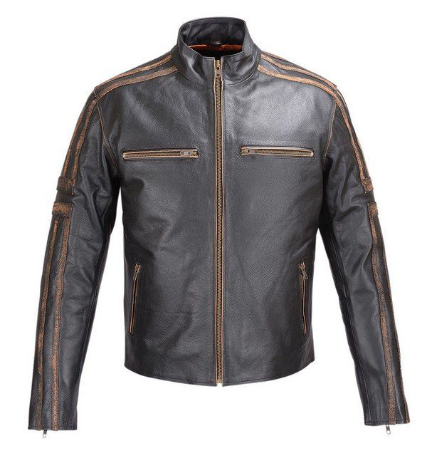 MENS-REAL-LEATHER-ANTIQUE-JACKET-BLACK-MOTORCYCLE-OLD-SCHOOL-STYLE