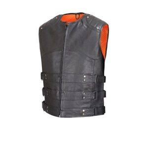 Crew-Collar-Leather-Biker-Vest-w/Extra-Large-Side-Tabs-&-Mesh-Lining-MBV103
