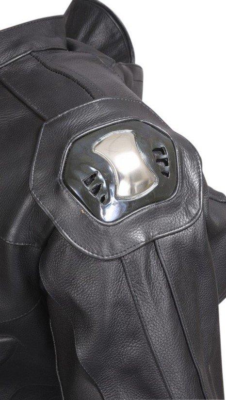 Motorcycle-Biker-Original-Drum-Dyed-Cowhide-1-Piece-Race-Suit-CE-Armor-Black-RS3