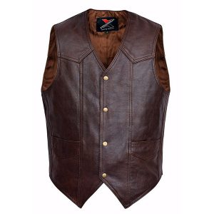 Men-Motorcycle-Leather-Vest-Classic-Western-Style-Brown
