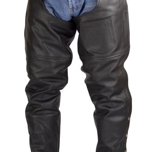 Men-Women-Plain-Motorcycle-Biker-Cowhide-Leather-Chaps-Pants