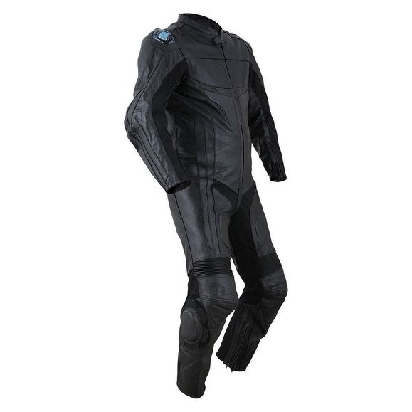 2PC-Motorcycle-Biker-Original-Drum-Dyed-Cowhide-Race-Suit-CE-Armor-Black
