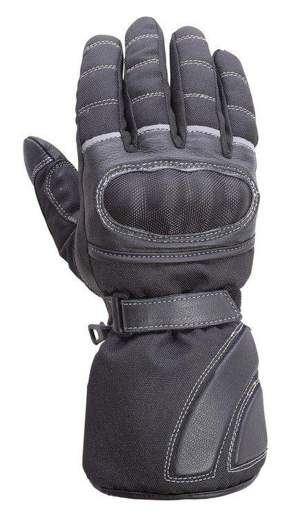 Motorcycle-Carbon-Fiber-Knuckle-Leather/Textile-Ridinng-Gloves-Black