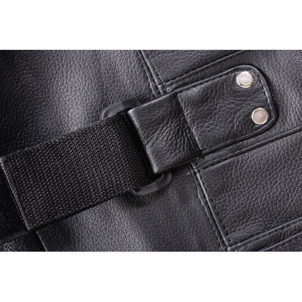 Crew-Collar-Leather-Biker-Vest-w/Extra-Large-Side-Tabs-&-Mesh-Lining-MBV103