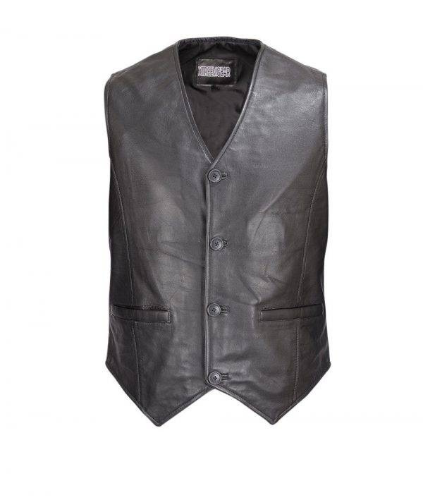 Men-Motorcycle-Biker-Leather-Button-Front-Smooth-Lamb-Vest-Classic-Style-MBV113
