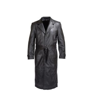 MENS-BLACK-LAMBSKIN-CLASSIC-LEATHER-TRENCH-COAT