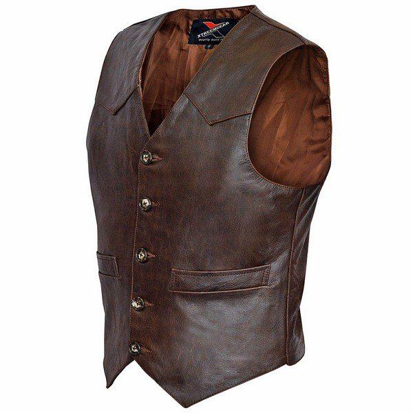 Brown-Mens-Premium-Leather-Vest-Western-Style