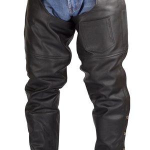 Men-Women-Plain-Motorcycle-Biker-Cowhide-Leather-Chaps-Pants